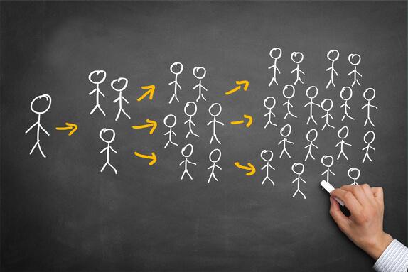 Eine Vertriebsstruktur aufbauen, indem man mehrere Teampartner hat und diese weitere Teampartner bekommen, bis eine große Vertriebsstruktur aufgebaut wurde